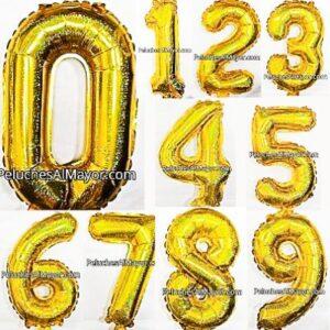 16'' Números Dorado Holografico COMBO