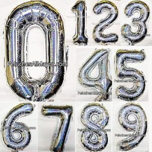 16'' COMBO Números Plateado Holog. x10 unid