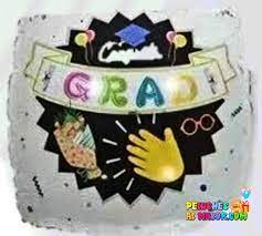 "18"" Globo Graduacion Cuadrado Blanco Banner"