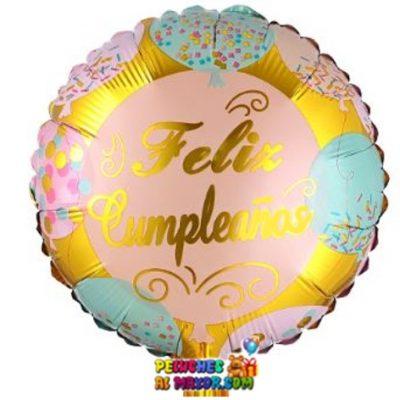 Cumpleaños Dorado Circulos Celeste Metalizado F