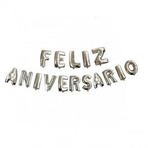 Letras Feliz Aniversario Plateado