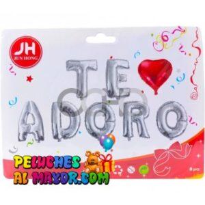 16′ Letras TE ADORO Plateado +Corazon