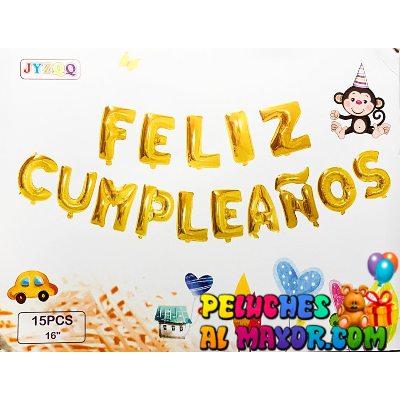 16'' Letras Feliz Cumpleaños Dorado Blister