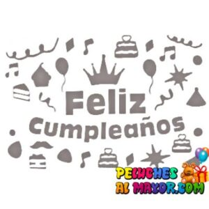 Sticker 30x20 Cumple Corona Plateado