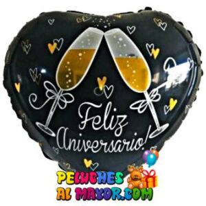 18'' Feliz Aniversario Copas Negro