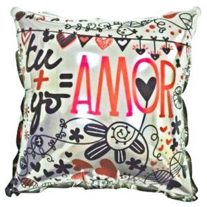 tu + yo amor globo cuadrado amor