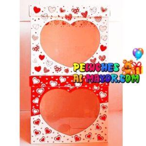 Cajas c/acetato 25x25 corazones x6 unid