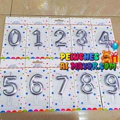 Velas Numero Plateada Serie 0-9