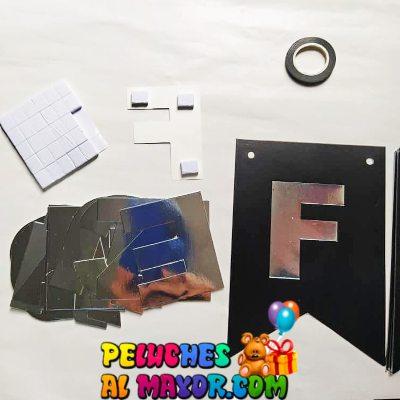 Banderin Peq. 3D Cumpleaños Negro/Plata