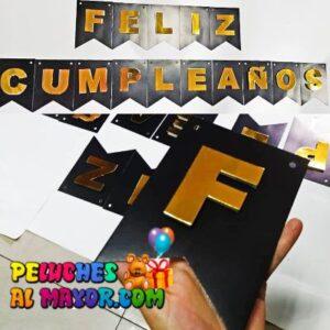 Banderin Peq. 3D Cumpleaños Negro/Dorado