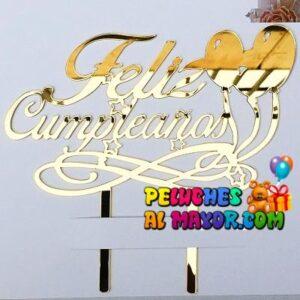 Topper Acrilico Feliz Cumpleaños Dorado