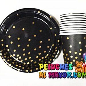 Set Fiesta Negro Lunares Dorados