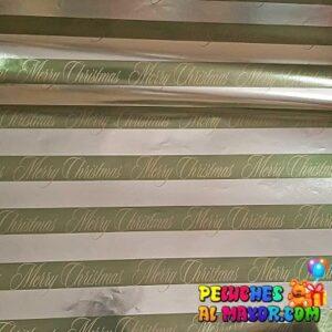 Papel Metalico Navidad Dorado x12 pliegos