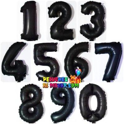 """16"""" Números del 0 al 9 Negro Mate"""