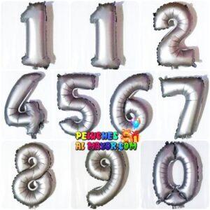 """16"""" Números del 0 al 9 Plateado Mate"""