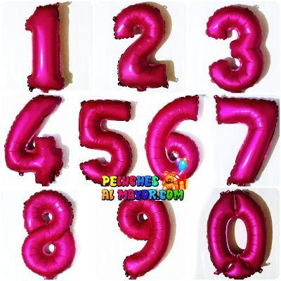 """16"""" Números del 0 al 9 Fuscia Mate"""