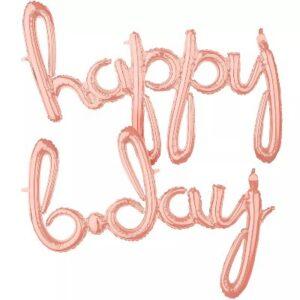 Happy B-Day. Curvo Blister Rosa Gold