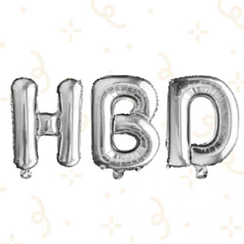 32' Letras HBD Plateado
