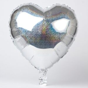 """18"""" Corazón Holografico Plateado"""