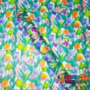 Papel/Seda Estampado Flores X10