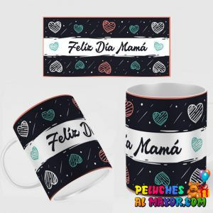 Taza Negra Feliz Dia Mamá