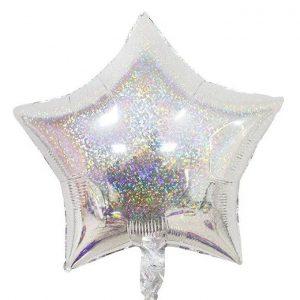 "18"" Estrella Holografica Plateado"