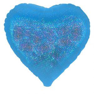 """18"""" Corazón Holografico Azul"""