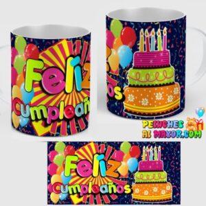 Taza Feliz Cumpleaños Pastel Colores