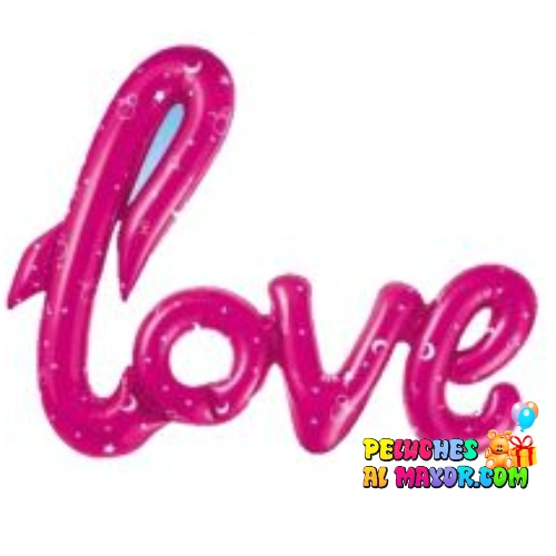 Globo Love cursiva Fucsia estampado estrellas-lunas