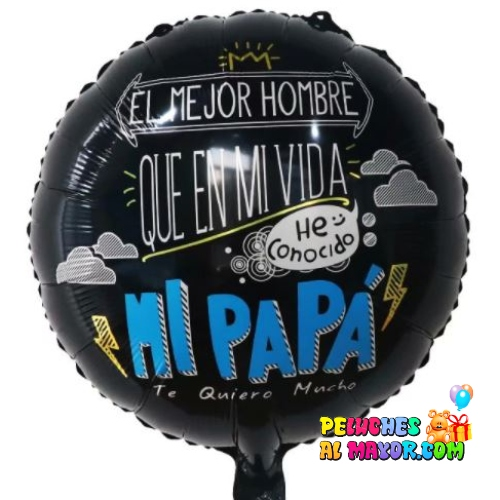 "18"" PADRE Redondo Negro ""El mejor hombre"""