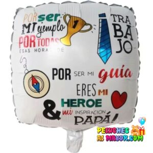 """18"""" PADRE Cuadrado Blanco """"Por ser ejemplo"""""""