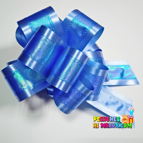 Lazo Pompom Irizado Azul #10