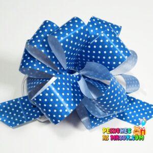 Lazo Pompom azul polka #9