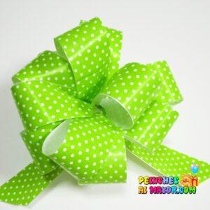 Lazo Pompom Verde manzana polka #9