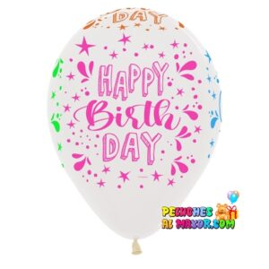 Latex R12. Happy Birthday Splash Neon x12