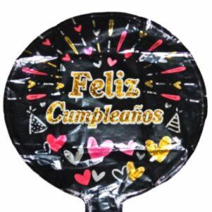 10 Cumple Redondo Negro Corazoncitos