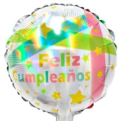 Globo Metalizado Feliz Cumpleaños Tornasol estrellas