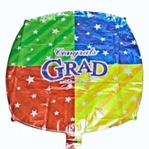 """18"""" Globo Graduacion Cuadrado Colores Congrats"""