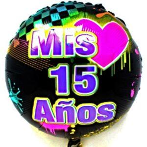 """18"""" Mis 15 Red. Negro Corazon Fucsia"""