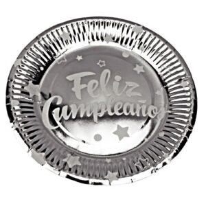 Platos para Fiesta Plateado Metaliz. x10und