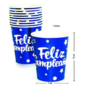 Vaso para Fiesta FC Azul Metaliz. x 10u.