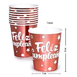 Vaso para Fiesta FC Rosa Gold Metaliz. x 10u.