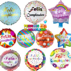 "Combo 10"" foil globo con sello feliz cumpleaños"