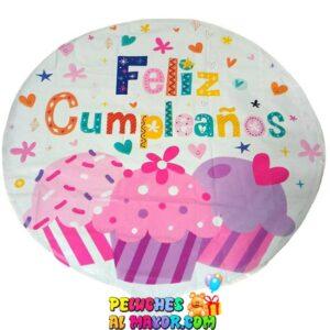 Foil Feliz Cumpleaños Redondo Blanco Ponque Cup Cake Corazon Estrella