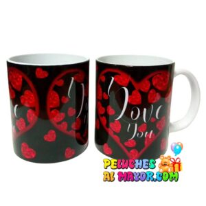 Taza Amor ILY Negro Coraz Rojos