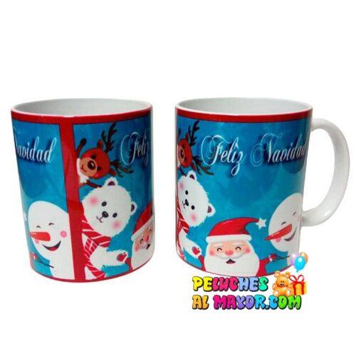 Taza Navidad Azul Santa Amigos