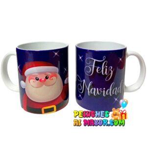 Taza Navidad Azul Santa Brillante
