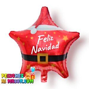"18"" estrella roja traje santa feliz navidad foil metalizado"