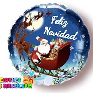 18'' Navidad Trineo Santa Azul feliz año metalizado foil