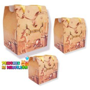 Caja Cofre Navidad Dorado x3und